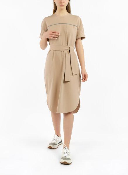 T-shirt рокля с колан Brunello Cucinelli