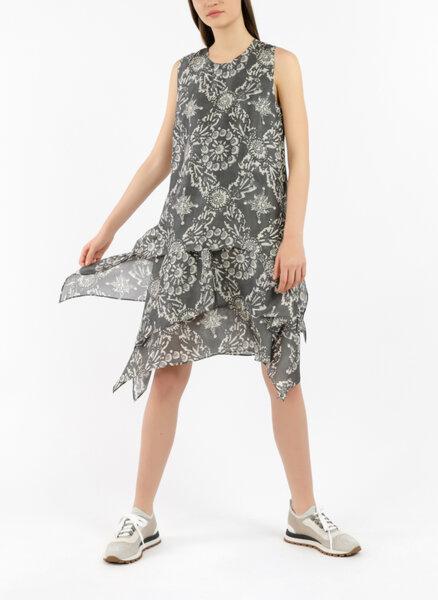 Копринена рокля с флорален принт Brunello Cucinelli