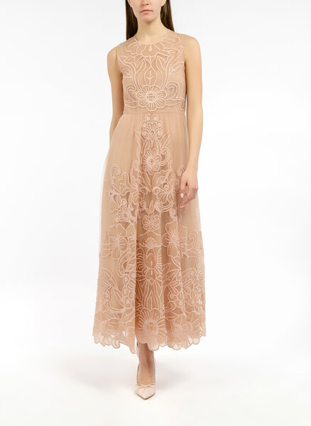 Миди рокля с флорална бродерия Red Valentino