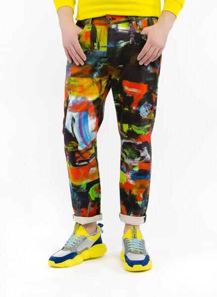 Панталон с абстрактен 'paint' ефект принт Moschino