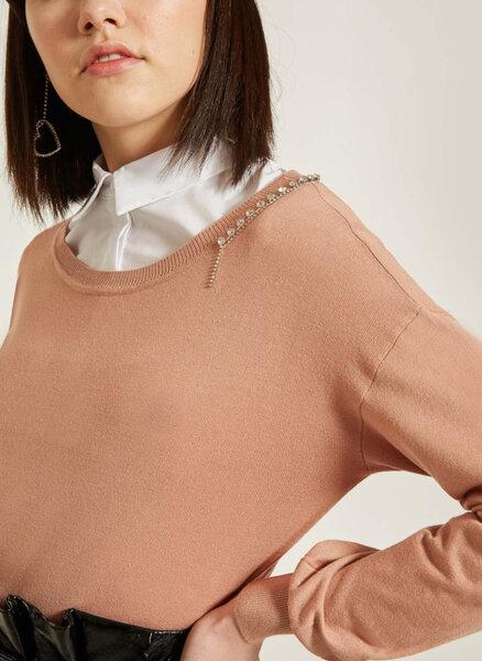 Пуловер с декоративни кристали Motivi