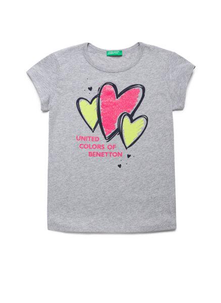 Тениска с Glitter принт Benetton