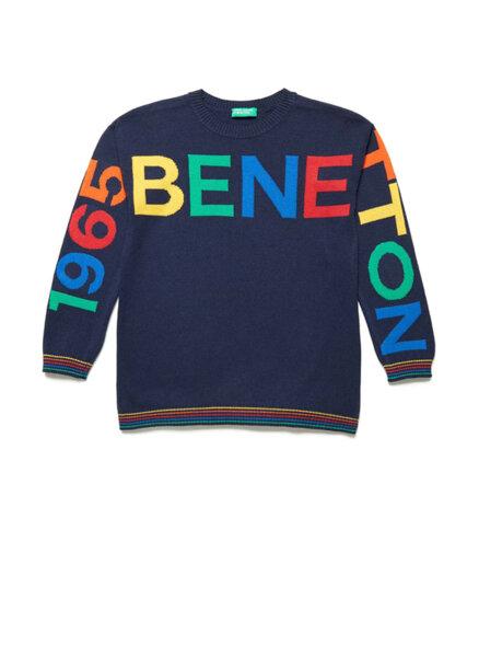 Пуловер с лого дизайн Benetton
