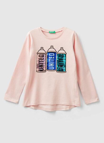 Блуза с двулицеви пайети Benetton Kids