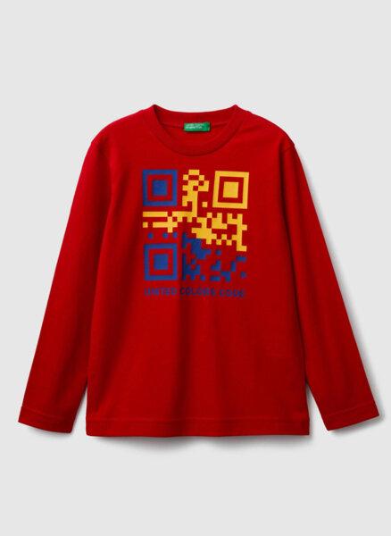 Блуза с лого принт Benetton Kids