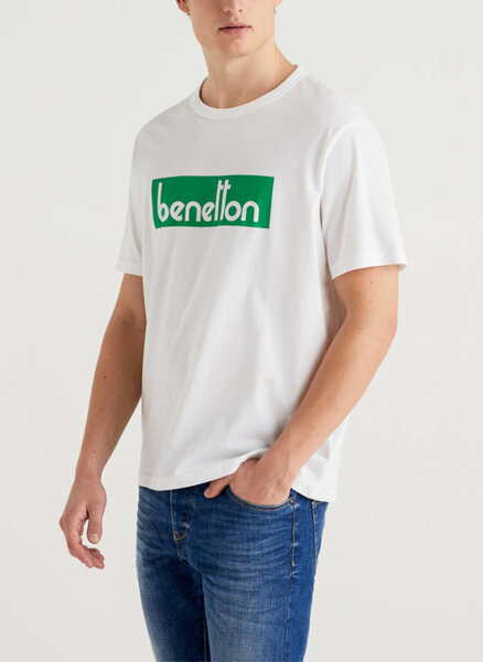 Тениска с бранд лого принт Benetton