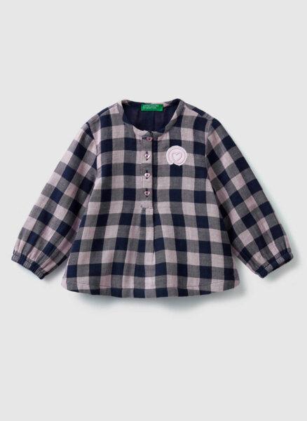 Разкроена карирана блуза Benetton Kids