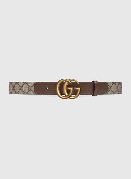 Кожен колан със златиста GG катарама Gucci