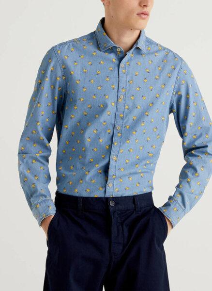 Памучна риза с принт Benetton