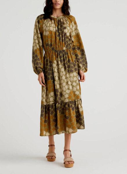 Дълга рокля с принт Benetton
