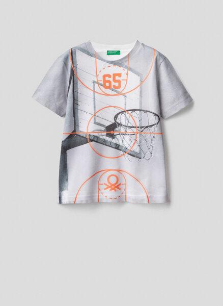 Тениска с мрежест детайл Benetton Junior