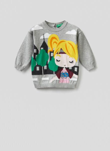 Памучен пуловер Benetton Kid