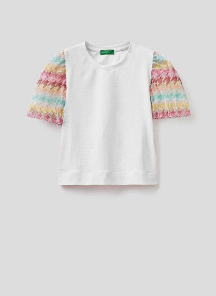 Тениска с мрежест ръкав Benetton Junior