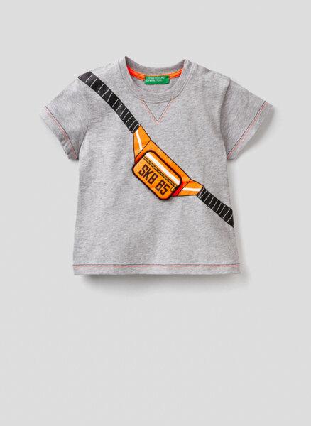 Тениска от памук с апликации Benetton Kid
