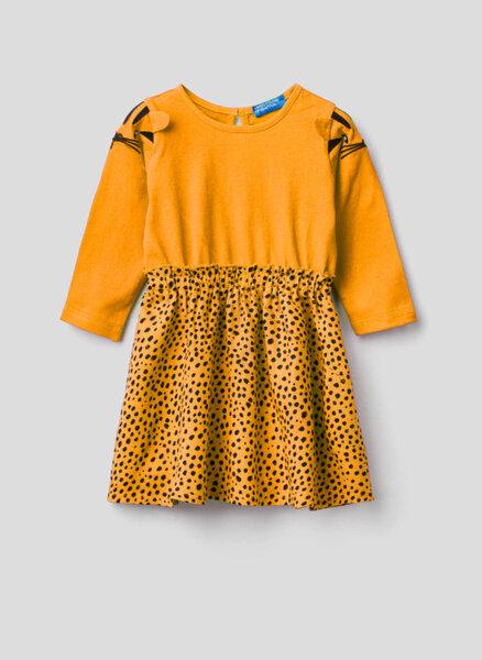 Памучна рокля с принт Benetton Kid