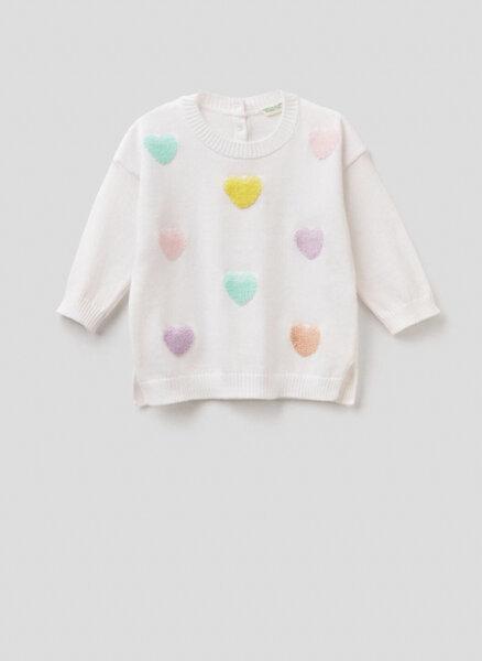 Пуловер със сърца Benetton New born