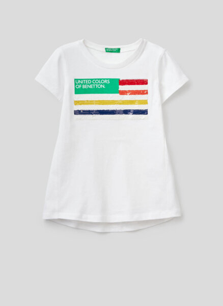 Тишърт с пайети Benetton Junior