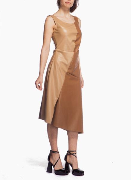 Кожена рокля с 'color block' дизайн Sportmax Portici