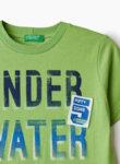 Тениска от памук с принт Benetton Junior-зелено
