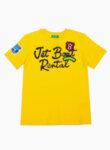 Тениска от памук с принт Benetton Junior-жълто