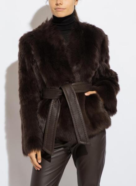 Палто с естествен косъм Max Mara Studio AGGRAVI