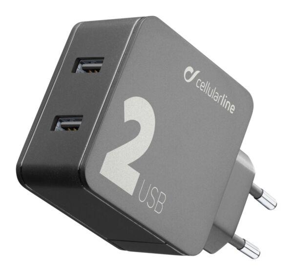Зарядно 220V-2x12W USB бързо зарядно