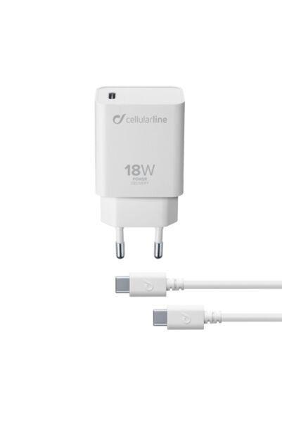Зарядно с Power Delivery и кабел USB-C към USB-C, 18W