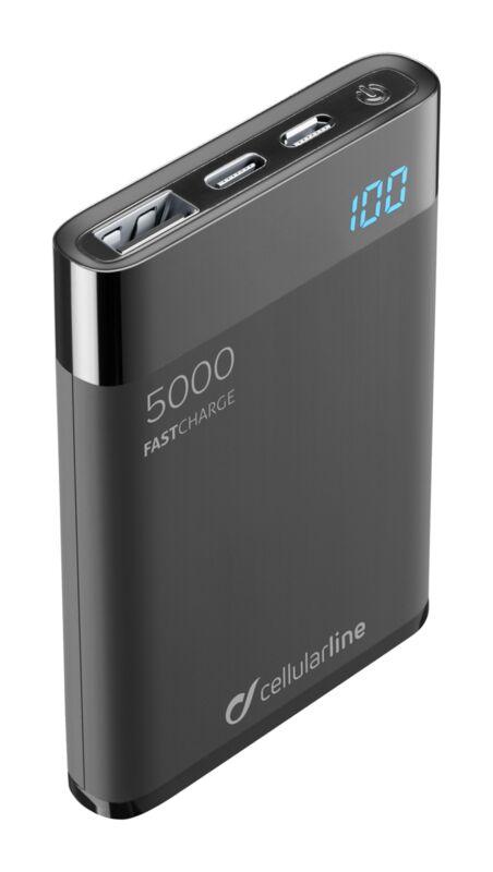 Външна тънка батерия Manta HD 5000mAh черна
