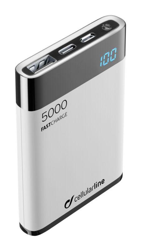 Външна тънка батерия Manta HD 5000mAh бяла