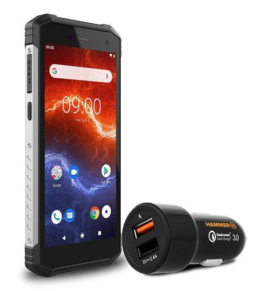 Телефон Hammer Energy 2, Черен с бързо зарядно за кола