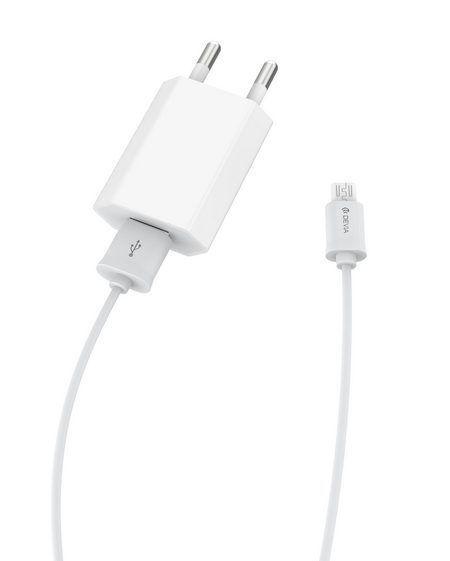 Зарядно и кабел Devia 220V, microUSB, 2.1А