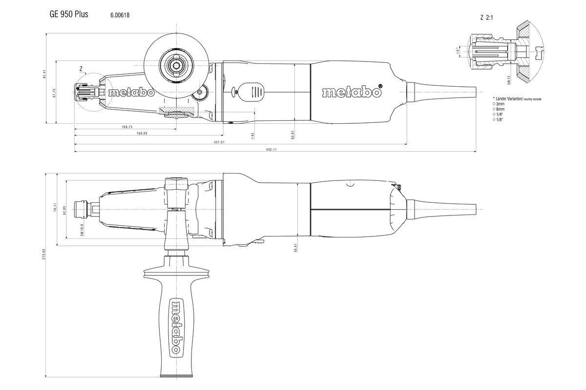 Шлайф прав удължен с рег. обороти Metabo GE 950 Plus