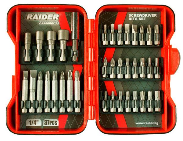 "Накрайници комплект PZ, PH, H, T, 1/4"" 37бр. RAIDER 157793"