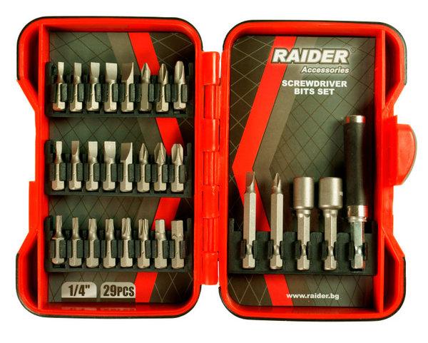 Накрайници битове PZ, PH, H, T, 29бр.комплект RAIDER 157792