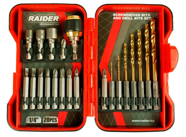 """Накрайници и свредла 1/4"""" 21 броя комплект, RAIDER 157797"""