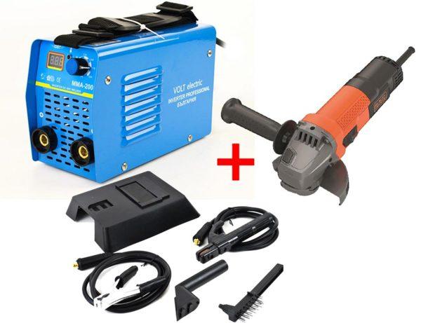 Електрожен инверторен Volt Electric ММА200NBD IGBT Technology с дисплей + Ъглошлайф Black & Decker BEG110