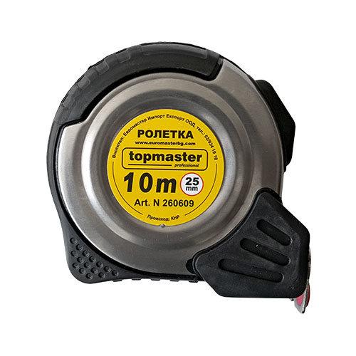 Ролетка магнитна с двоен стоп, метална 10м х 25мм, Topmaster 260609
