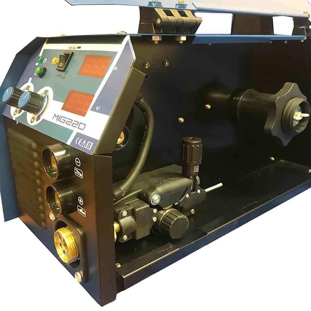 Телоподаващ апарат с електрожен MIG-220ND комплект с бутилка, редуцир вентил, заваръчен шлем, тел