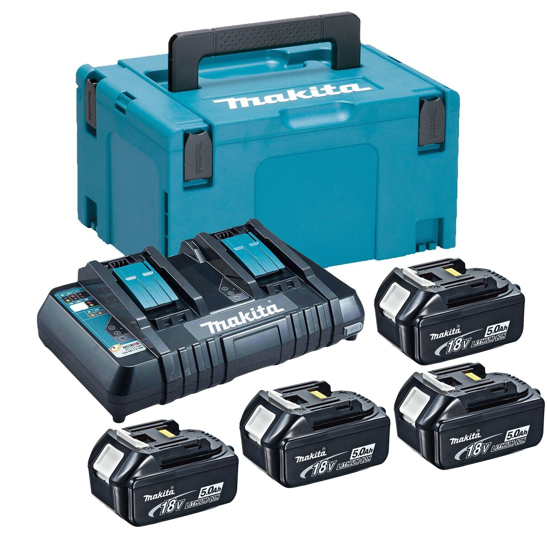 Комплект Makita 197626-8 (4бр. батерии BL1850B 18V, 5Ah + двойно зарядно DC18RD + куфар Makpac 3)