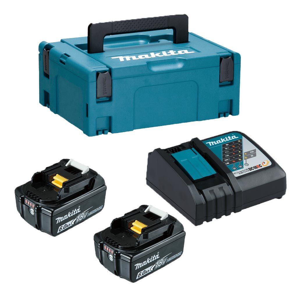 Комплект Makita 198116-4 (2бр. акумулаторни батерии BL1860B 18V, 6Ah + зарядно DC18RC + куфар Makpac 1)