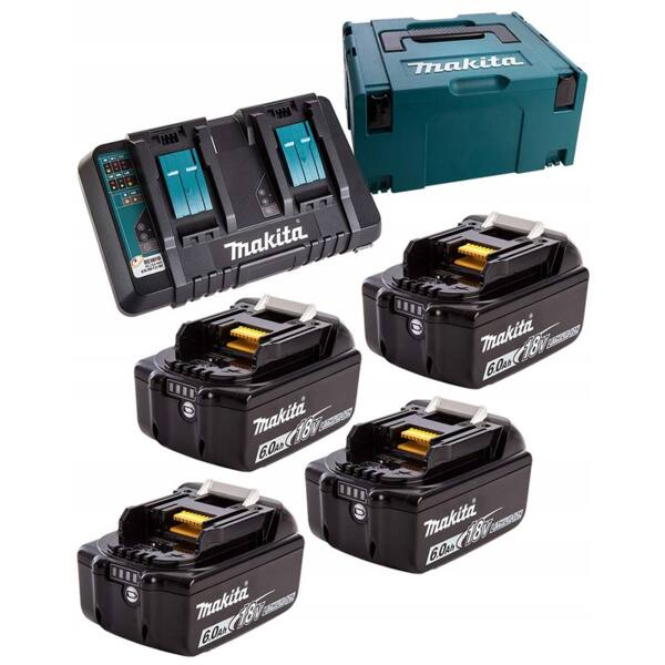 Комплект Makita 198091-4 (4 бр. акумулаторни батерии BL1860B 18V, 6Ah + двойно зарядно устройство DC18RD + куфар Makpac 3)