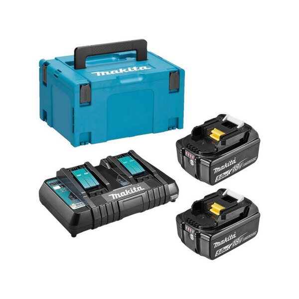Комплект Makita 197629-2 (2бр. акумулаторни батерии BL1850B 18V, 5Ah + двойно зарядно устройство DC18RD + куфар тип Makpac 3)