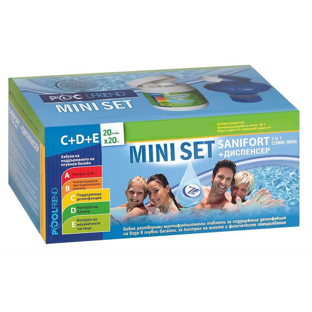 Комплект таблетки за басейн 20х20г + диспенсър плаващ, Sanifort Mini Set 3in1 Combi