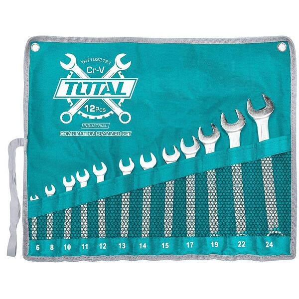 Комплект комбинирани ключове TOTAL Industrial THT1022121, SW 6 - 24 мм, 12 части