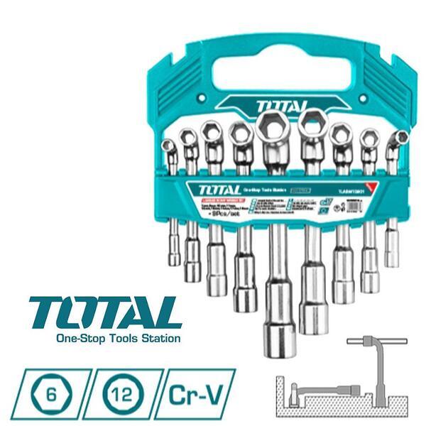 Комплект Г-ключове, TOTAL INDUSTRIAL TLASWT0901, CrV, SW 7-19, 9 части