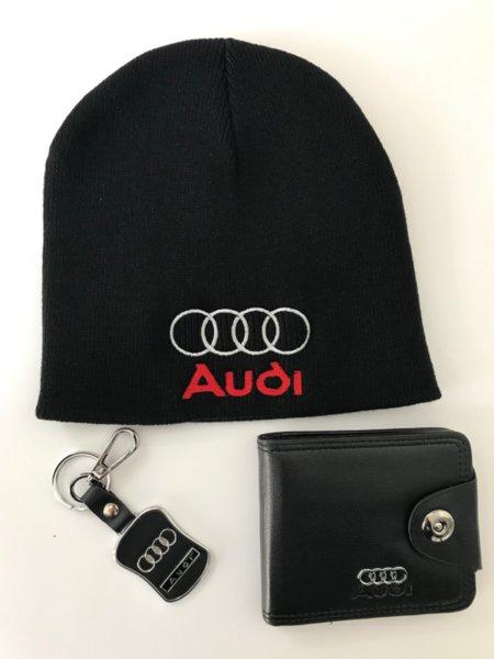 Μάλλινο καπέλο με κεντήματα, πορτοφόλι από τεχνητό δέρμα και κομψό μπρελόκ AUDI