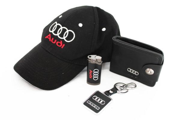 Καπέλο με γείσο,μπρελόκ, πορτοφόλι και αναπτήρα-AUDI