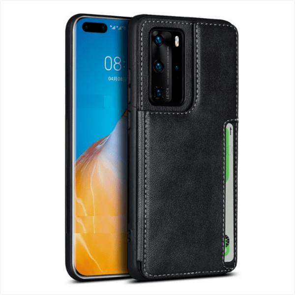 Кожен кейс портфейл със слотове за кредитни карти за Huawei P40 Lite / P40 Pro