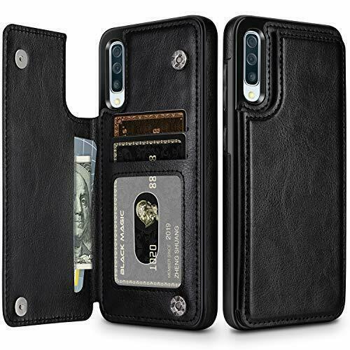 Кожен кейс портфейл със слотове за кредитни карти за Samsung Galaxy A50 (A30s)