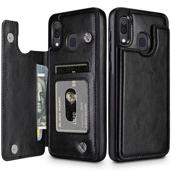 Кожен кейс портфейл със слотове за кредитни карти за Samsung A10